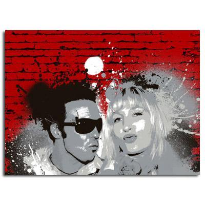 Cadeau déco original pour un couple un portrait pop graffiti